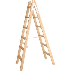 Escalera tijera madera peldaño plano