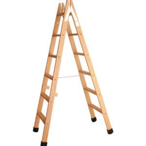 Escalera tijera madera peldaño plano, con zapatas